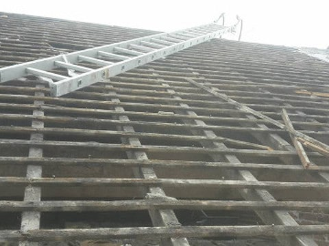 pitched roof replacement Cadley old tiles removed