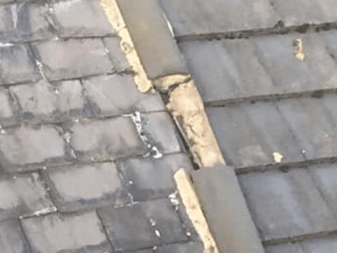 roof repair Cadley ridge tiles missing